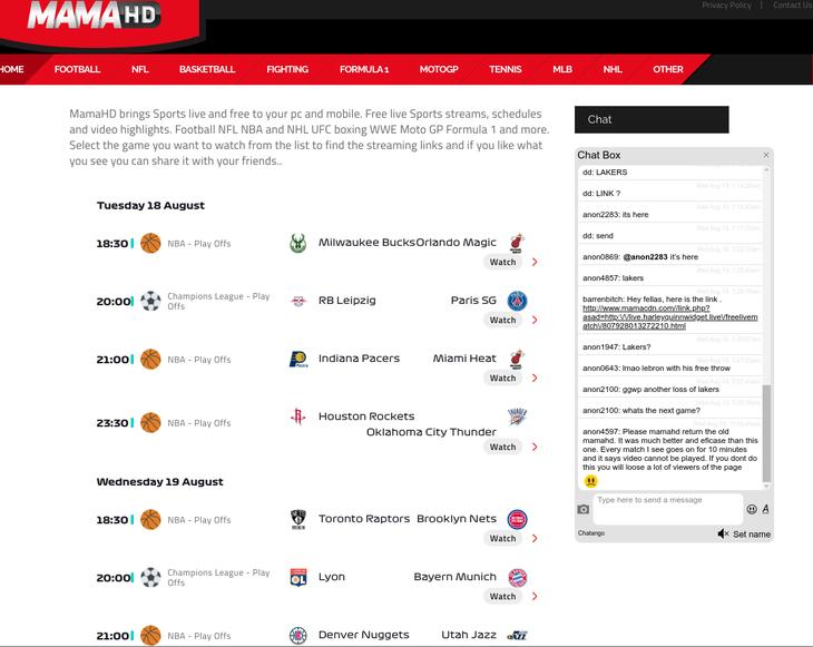 Mamahd free sports streaming sites