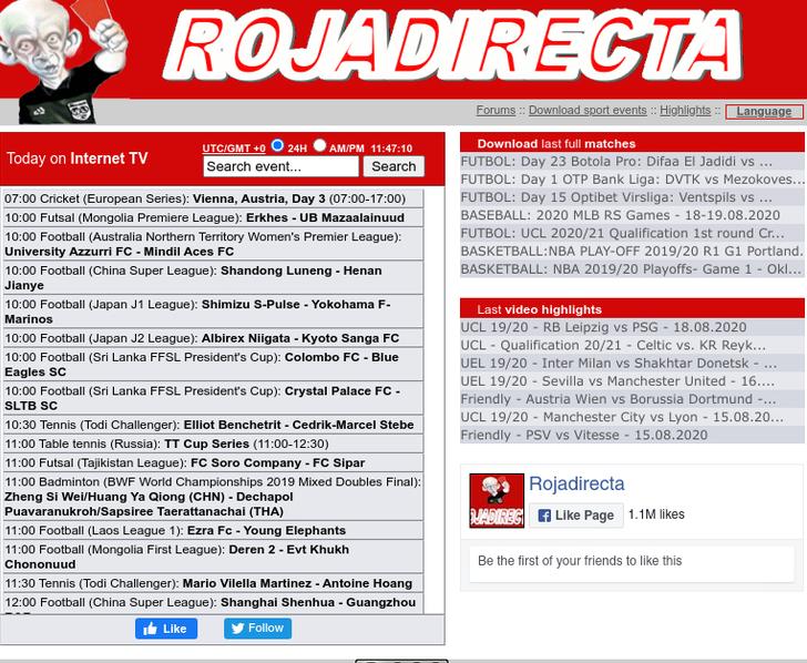 Rojadirecta.me free sports streaming sites
